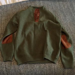Orvis wool and leather pullover M